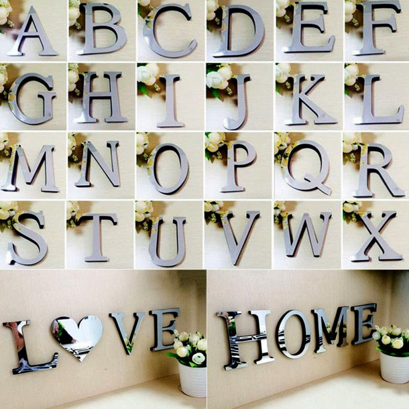 Buy 3d mirror acrylic wall stickers for Alphabet wall mural