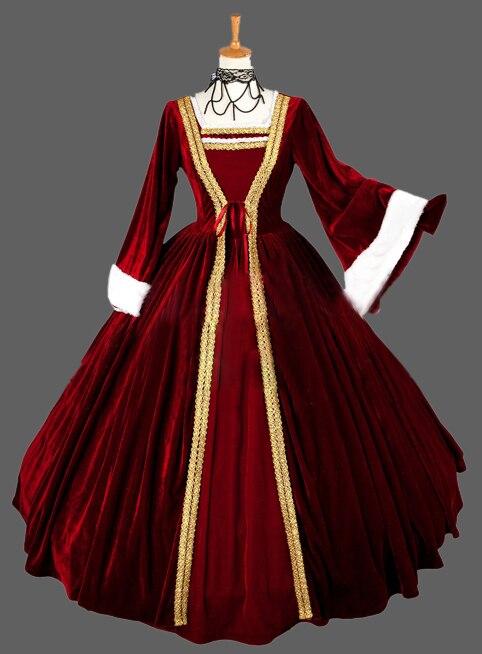 European Court 17 18th Century Golden Marie Antoinette Era Rococo Style Ball Gown