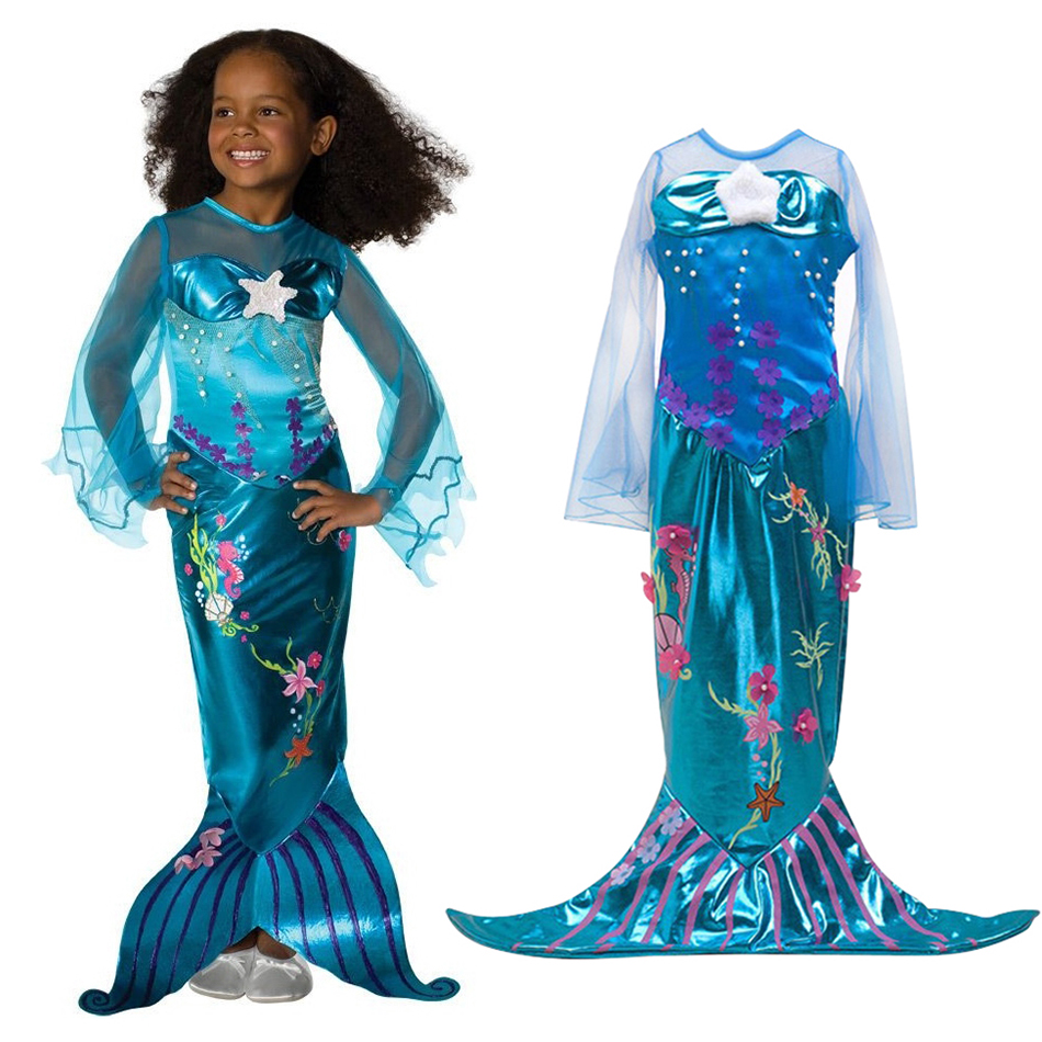 Girls Ariel Cosplay Costume Children The Little Mermaid Dress Transparent Long Sleeve Kids Halloween Party Fancy Sequined Gown the little mermaid tail princess ariel dress cosplay costume kids for girl fancy green dress halloween christmas cosplay costume