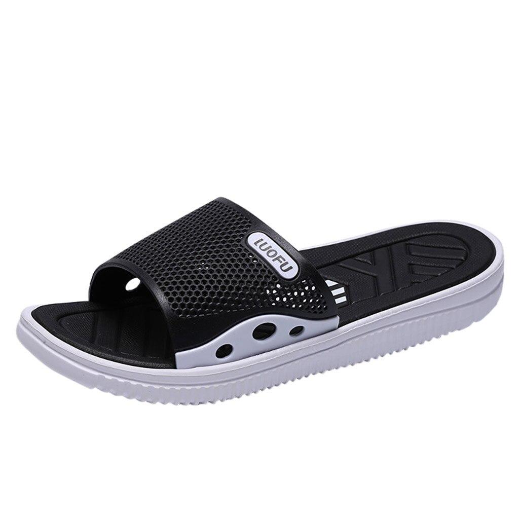 SAGACE; коллекция года; Мужские Модные Повседневные тапочки; летняя уличная Нескользящая пляжная обувь; домашние тапочки; Новинка - Цвет: Черный