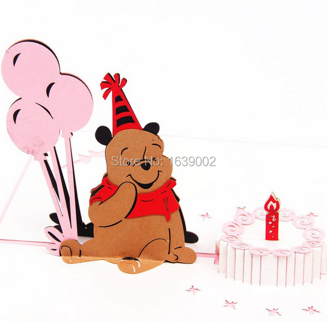 Lovely Bear 3d Handmade Birthday Card Wholesale 20pcslot Free