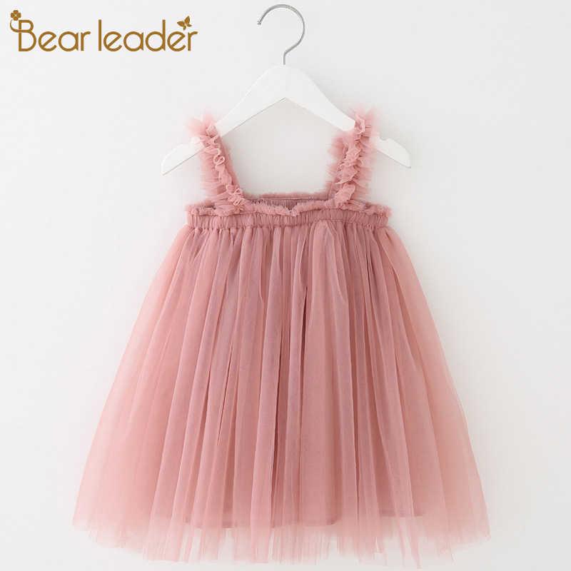 Bear leader/платье для девочек; коллекция 2019 года; летний сетчатый слинг; Одежда для девочек; однотонное платье принцессы; платья-пачки для малышей; платье для маленьких девочек