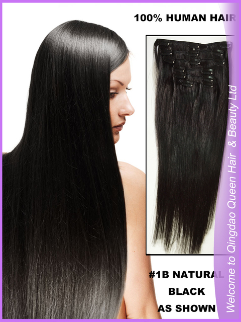 Free Shipping Queen Hair Not Blended Hair Silky Straight Clip In