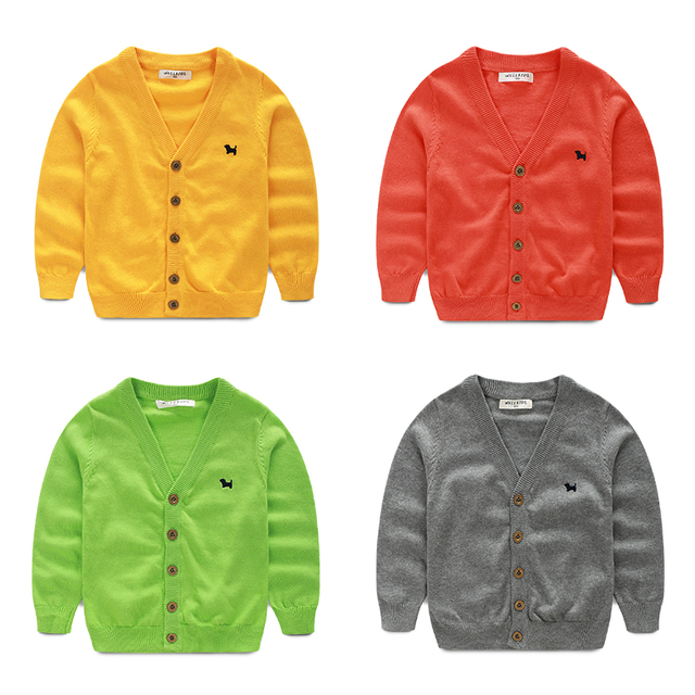 YN-189, children boys sweater cardigan, long sleeve button solid color outerwear, 100% cotton