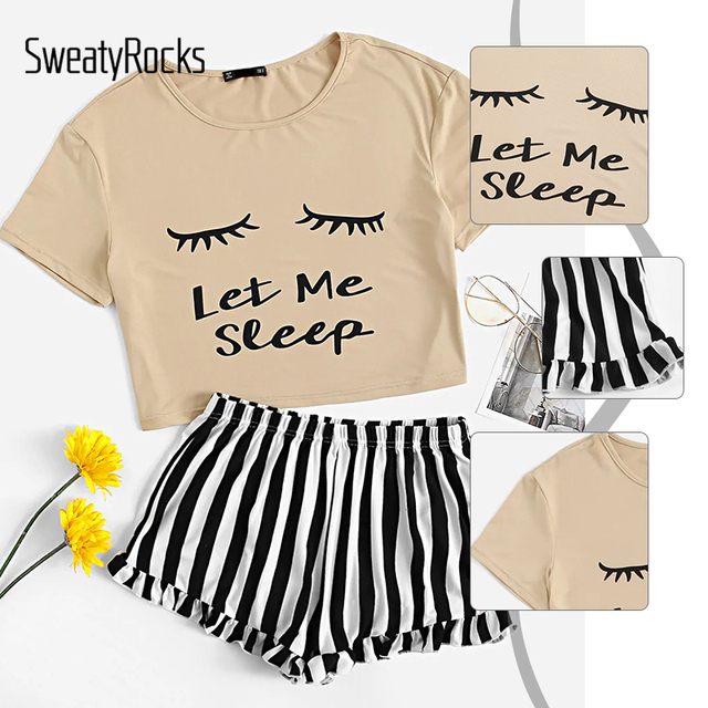 Letter Print Tee And Striped Ruffle Shorts 5
