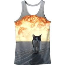 Escape Fire Cat 3D Vest Men Hip Hop Fashion Tank Top Funny Cute Animal Harajuku Vests Tops New Arrival Plus Size 6XL Mens Tanks