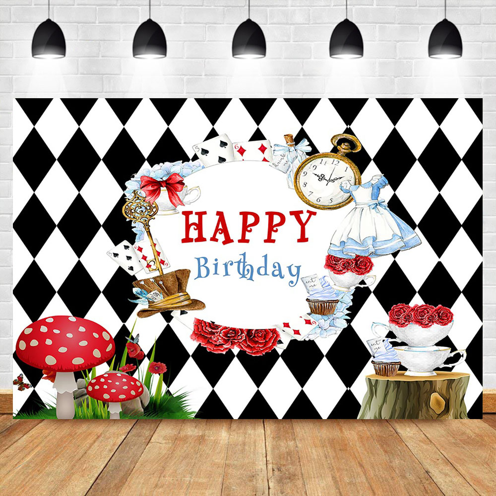 NeoBack Happy Birthday Backdrop Tea Party Birthday Photography Background Poker Clock Mushroom Party Banner Decorate Props(China)