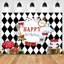 NeoBack Happy Birthday Backdrop Tea Party Photography Background Poker Clock Mushroom Banner Decorate Props
