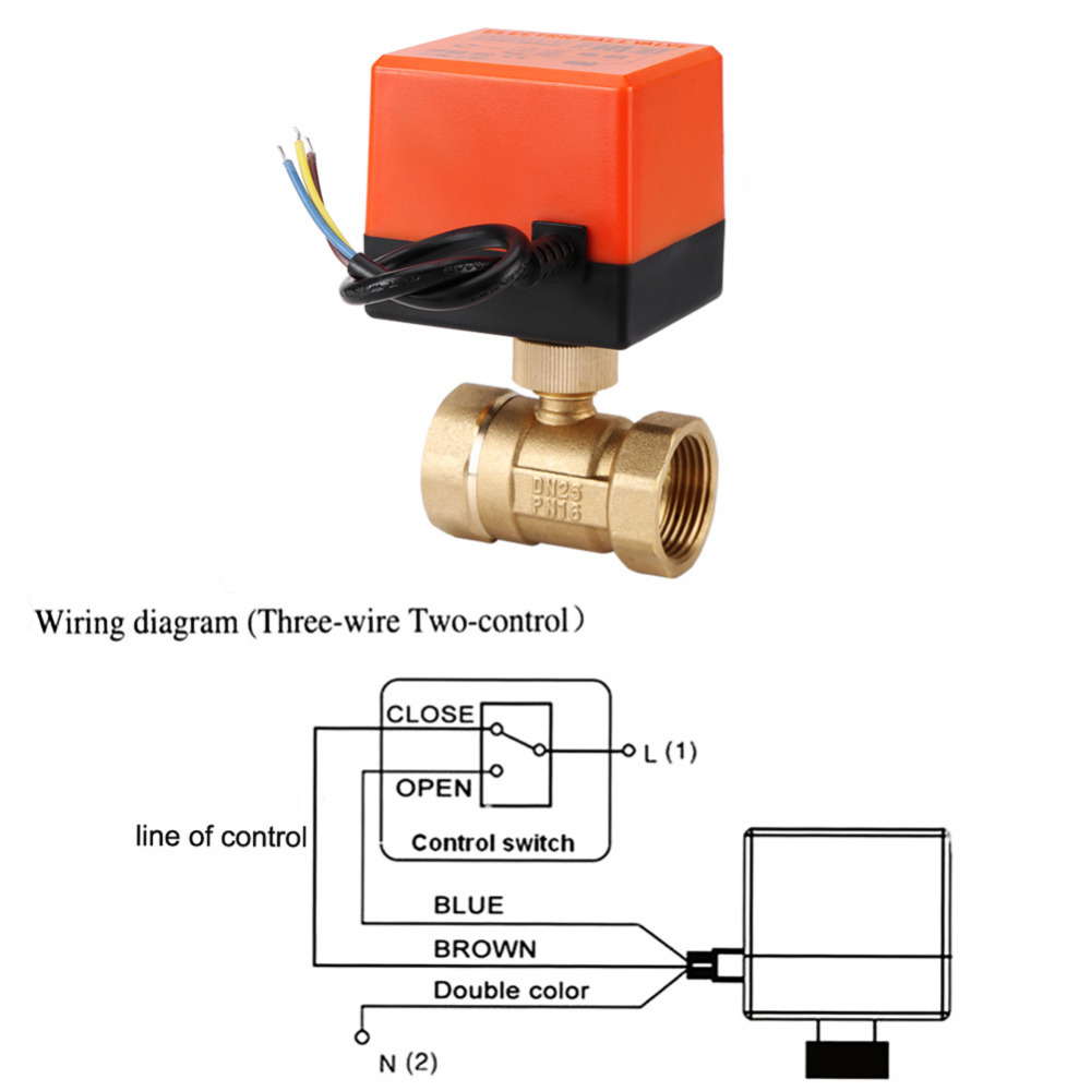 Ac 220v Brass Electric Motorized Ball Valve 2 Way 3 Wire 16mpa Prong Wiring Diagram What Is X 1 Gs03187 13