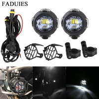 FADUIES 2Pcs 40W LED Auxiliary Spot Driving Light + 2Psc Protective Guard + 1Psc Switch Wiring For BMW Motorcycle R1200GS F800GS