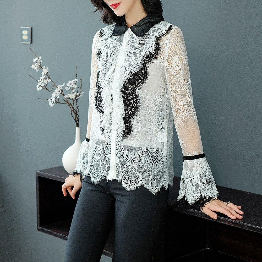 Réel Revers Soie Vêtements Hit Chemise Automne Perspective Veste Creux Blouse 2018 Couleur Out Cour White 4wIxzO8Yqx
