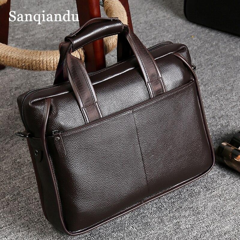 Bagaj ve Çantalar'ten Evrak Çantaları'de Erkek Evrak Çantası Hakiki Deri Tote Çanta Belgeler için Deri erkek omuzdan askili çanta Erkek Inek Cilt Iş postacı çantası Vintage'da  Grup 1