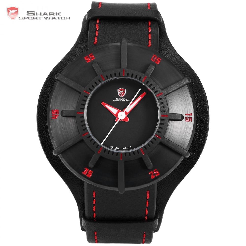 Silky Shark Sport Watch 3D Craft Black Red Top Luxury Brand Watches Men Genuine Leather Strap Band Back Case Quartz-watch /SH483
