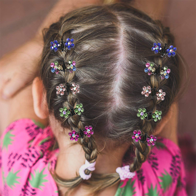 Hot 12pcs/pack Cute Crystal Butterfly Flower Hair Claw Hairpins Hair Accessories Ornaments Hair Clips Hairgrip For Kids Girl