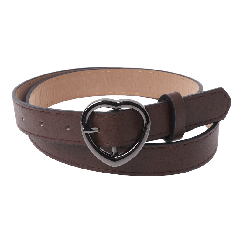 Waist Leather Belts Ladies Girdles Heart-shaped Pin Buckle