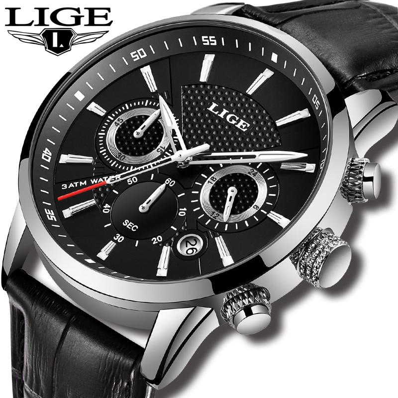 New Mens Watches LIGE Top Brand Luxury Mens Leather Sport Watch Men Waterproof Multifunction Quartz Wristwatch Relogio Masculino