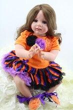 60CM silicone reborn dolls  real girl brown long hair fashion dress blue eyes baby toddler dolls girls toys gift bonecas