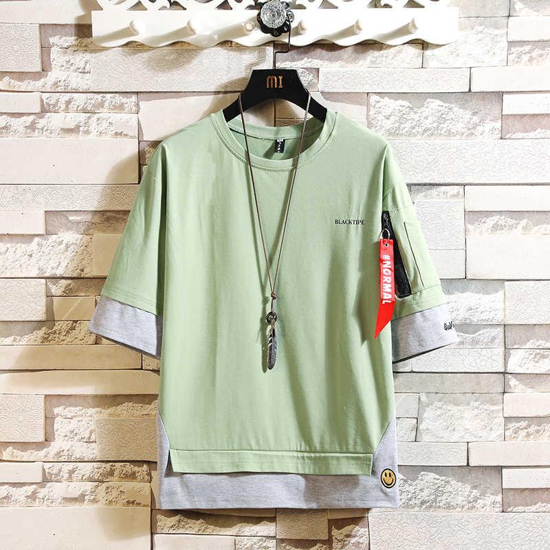 Mezzo di modo Maniche Corte di Modo O COLLO Della Stampa T-Shirt di Cotone da Uomo 2020 Estate Vestiti TOP TEES Maglietta Plus Asiatico formato M-5X.