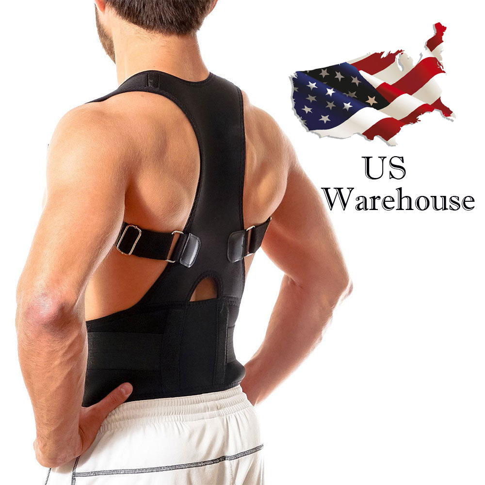 Aptoco Magnetic Therapy Posture Corrector Brace Shoulder Back Support Belt for Braces & Supports Belt Shoulder Posture US Stock jorzilano free shipping women adjustable therapy back support braces belt band posture shoulder corrector for fashion health
