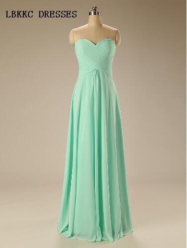 Mint Green Bridesmaid Dresses Long Chiffon Gown Vestidos De Festa Vestido Longo Para Casamento Robes De Demoiselle D'honneur
