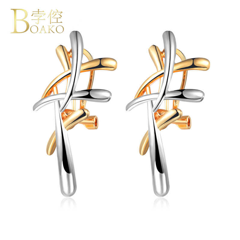 BOAKO Silver/Gold Color Metallic Cross Earrings Statement Punk Style Brincos Pendants Dangle Earrings for Women Party Jewelry Z2