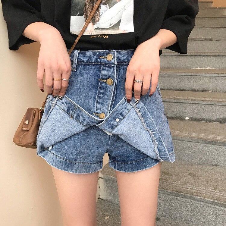 2019 femmes jupes courtes Jeans un Style Shorts taille basse mince Denim Shorts jupes Mini pour femme