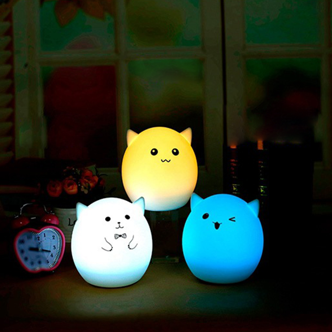 Colorful 7 Colors Pig Water droplets LED Children Animal Night Light Silicone Soft Cartoon Baby Nursery Lamp Breathing USB