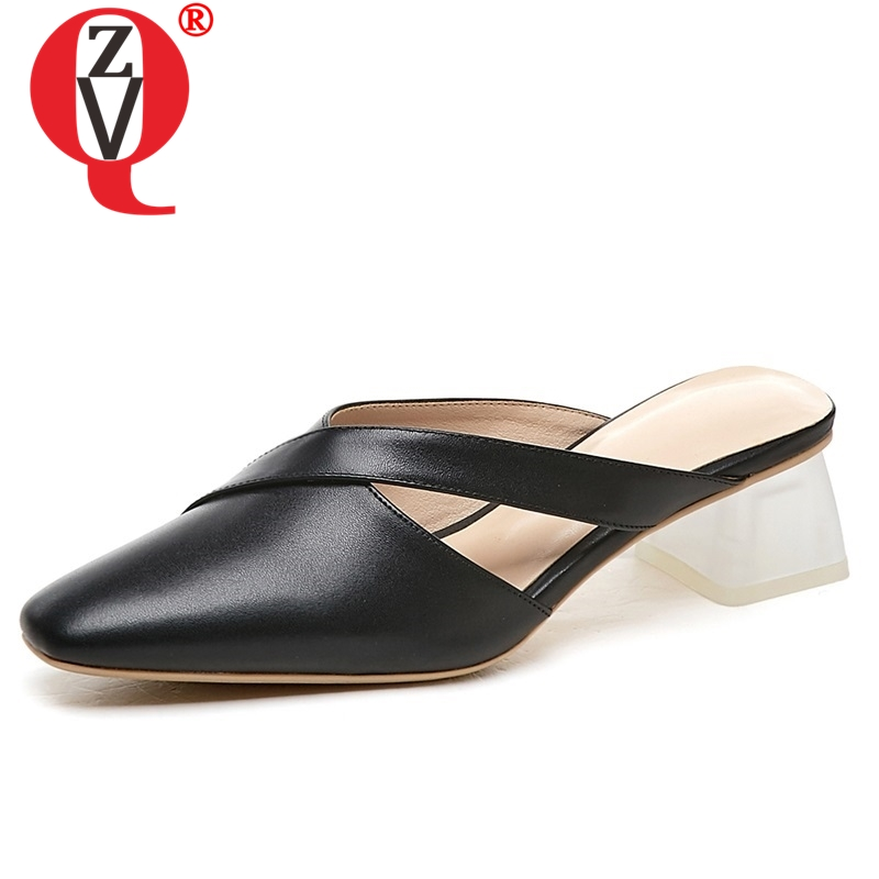 ZVQ shoes woman 2019 summer new fashion sexy high square heels handmade genuine leather woman slippers