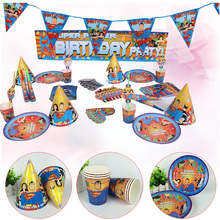 Superman Kids Birthday Party Supplies Cartoon Decoration Favors 6 People Disposable Party Tableware Set