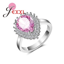 Exquisite Drop Water Shape Crystal with Micro CZ Bague Femme S90 SilverJewelry for Women Wedding Rings