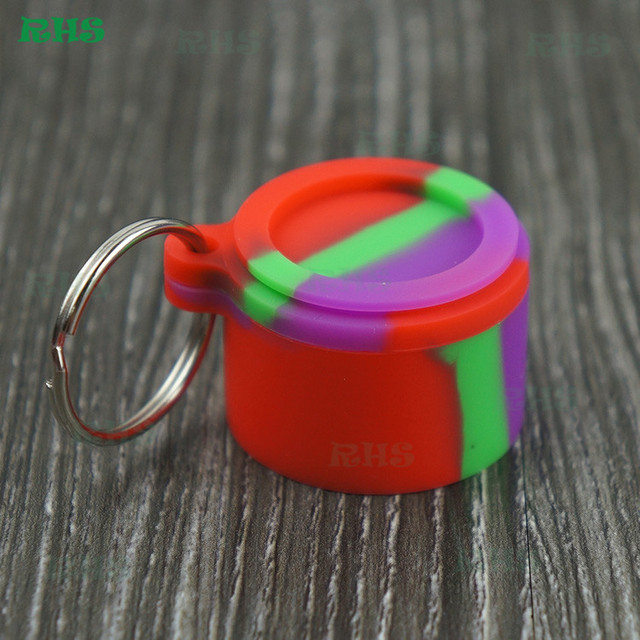US $14 99 |10pcs Small Oil Dab Containers with keychain Food Grade 6ml  Silicone Oil Wax Concentrate Container Non stick Free Shipping-in Storage