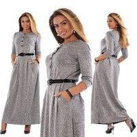 5XL 6XL Robe 2017 Sonbahar Kış Elbise Büyük Boy Zarif Uzun kollu Maxi Elbise Kadın Ofis Işleri Elbiseler Artı Boyutu Kadın Giyim