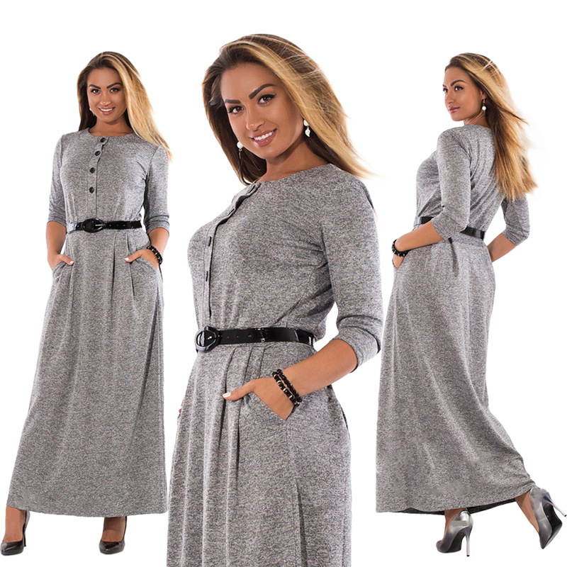 5XL 6XL Robe 2018 Otoño Invierno vestido talla grande elegante manga larga Maxi Vestido Mujer oficina trabajo Vestidos talla grande mujer ropa
