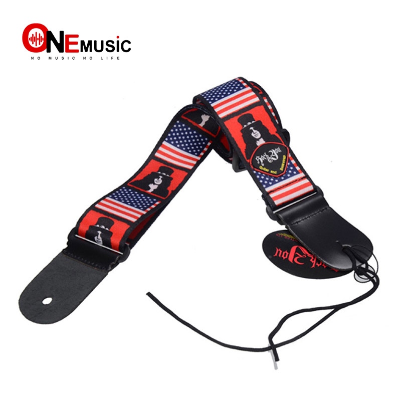adjustable american usa flag print genuine leather ends with pick holder acoustic guitar strap. Black Bedroom Furniture Sets. Home Design Ideas