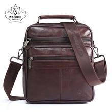 ZZNICK Männer der 100% Echtem Rindsleder Schulter Tasche, qualität Männer Messenger Taschen Kausalen Crossbody Handtasche Für Männer Solide tasche