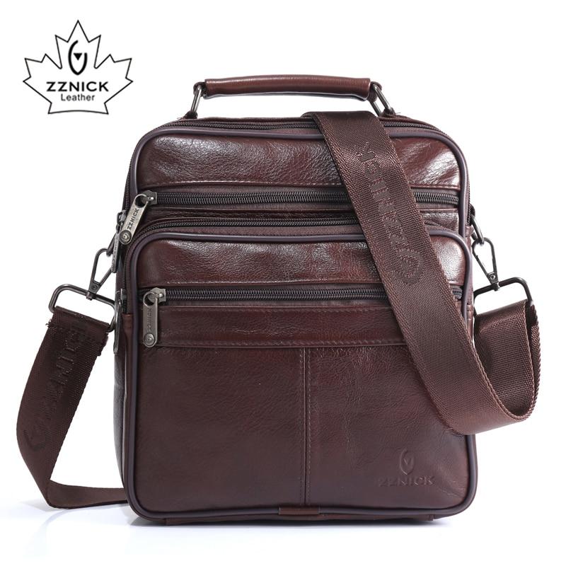 ZZNICK Men's 100% Genuine Cowhide Leather Shoulder Bag,Quality Men Messenger Bags Causal Crossbody Handbag For Men Solid Bag