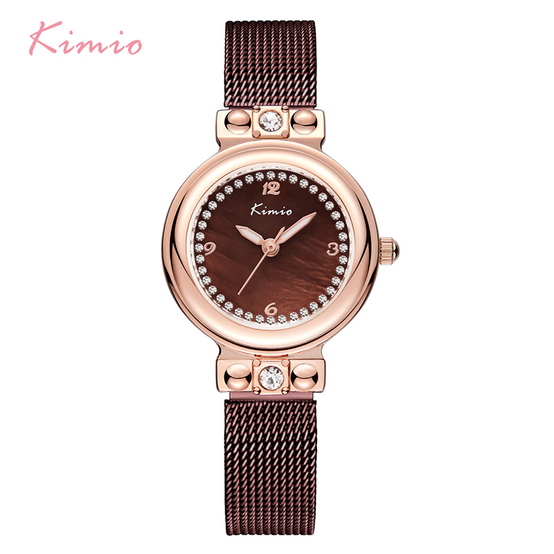 KIMIO Woman Milanese Mesh Watches Weave Stainless Steel Ladies Bracelet Dress Watch Rose Gold With Box horloge dames montre kimio ultra thin women s bracelet watch ladies stainless steel dress watches with gift box relojes mujer relogios montre femme