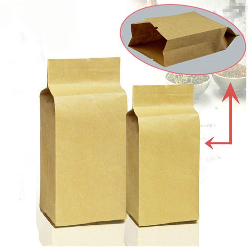 Retail 100pcs/lot 5*11+2.3cm 1.96x4.33+0.9 Open Top Kraft Paper Heat Seal Plastic Bags For Nut Tea Packing Kraft Paper Bag Elegant In Style Home Storage & Organization