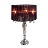 Элегантный дизайн Мода Романтический Sheer тени настольной лампы с подвесной кристаллы