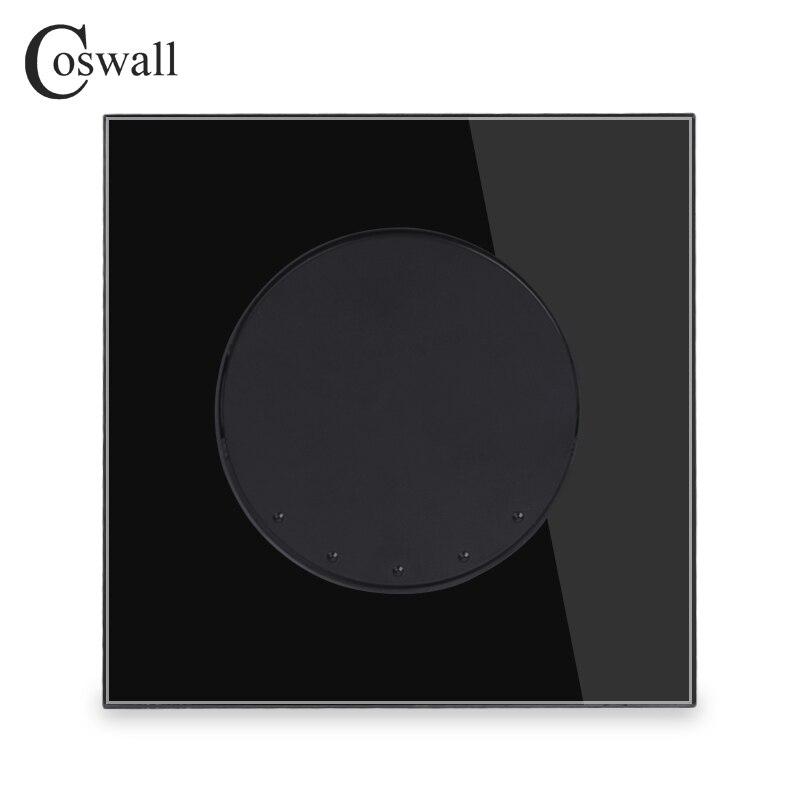 Coswall Noir Panneau Verre Cristal 1 Gang 3 Way Crossover Conmutador Intermédiaire Interrupteur Bouton Rond Mur Interrupteur