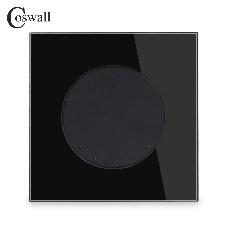 Coswall Schwarz Kristall Glas Panel 1 Gang 3 Weg Crossover Conmutador Zwischen Licht Schalter Runde Taste Wand Interruptor