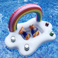 Summer Party Toys Inflatable Rainbow Cloud Swimming Pool Float Ice Bucket Cup Holder Beer Drink Table Bar Tray Beach Accessories