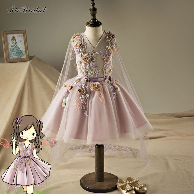 372083212f3 Tulle Ball Gown V-Neck Flower Girls Dresses with Shawl Lilac Hot Sale Girls  Dresses