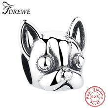 Forewe Real 100% Plata de Ley 925 Lovely Doggy Animal Loyal Partners Beads fit mujeres encanto pulseras perro DIY joyería(China)