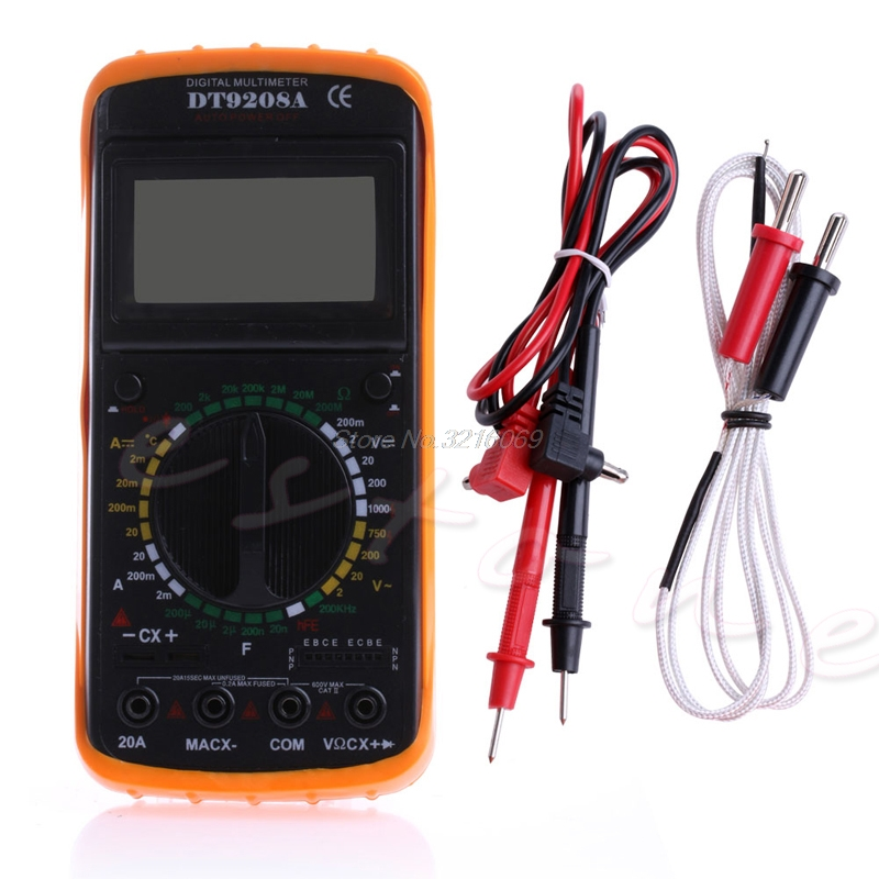 2018 Useful Digital Multimeter LCD AC/DC Ammeter Resistance Capacitance Tester DT9208A new portable dt9208a 1999 counts lcd display multimeter electric handheld ac dc resistance capacitance voltmeter ammeter