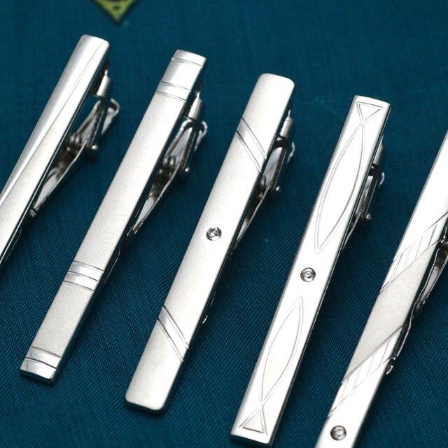 New Simple Metal Silver Tie Clip For Men Wedding Necktie Tie Clasp Clip Gentleman Tie Bar Crystal Tie Pin For Mens Gift