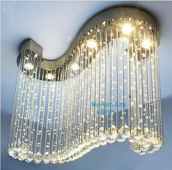 2017 Promotion Modern S Shaped Clear Crystal Chandelier Light Pendant Lamp Hanging Suspension Free Shipping X