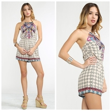 New Design Boho Chic Sexy Bohemian Printed Deep Backless Romper FT042