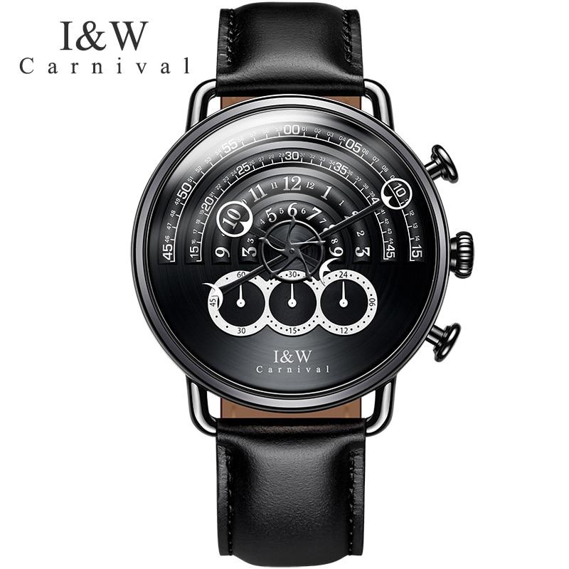 Carnaval IW marque de luxe piste Unique Design montres hommes chronographe chronomètre saphir horloge bracelet en cuir relogio saat reloj