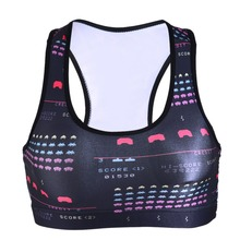 0067 Summer Sexy Girl Women classical FC game PAC-MAN 3D Prints Padded Push Up Gym Vest Top Chest Running Sport Yoga Bras